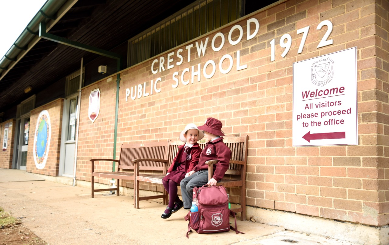 Crestwood Public School students in front of their school